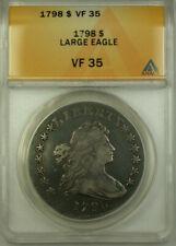 1798 Draped Bust Silver Dollar Coin Anacs Vf 35 Large Eagle