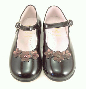 DE OSU - Girls European Brown Patent Leather Dress Mary Jane Shoes - Size 4.5-10