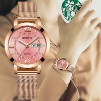 GIMTO SKMEI Fashion Women's Watches Stainless Steel Date Waterproof Wrist Watch