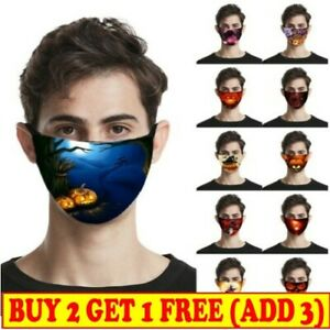 Halloween Print Funny Face Mask Reusable Washable Protectiv Breathable Covering!