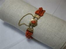 Victorian Coral Bracelet 14K Gold Natural Antique 4 Strand Wedding Engagement