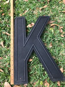 "Vintage Letter K Black 17"" Slotted Movie Theater Marquee Sign Letters WAGNER"