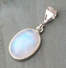 Solid 925 Sterling Silver AA Rainbow Moonstone Pendant Pagan Chakra Reiki Wicca