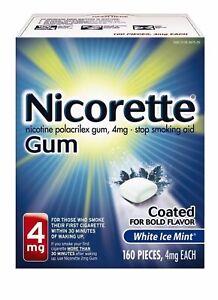Nicorette Gum 4mg White Ice Mint 160 Pieces Exp 09/2022.