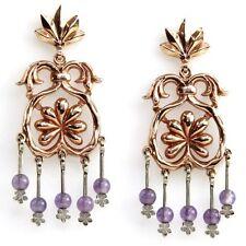 14k Rose & White Gold Amethyst Chandelier Earrings