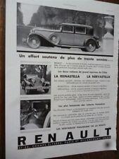 RENAULT NERVASTELLA et REINASTELLA automobile publicité papier ILLUSTRATION 1931