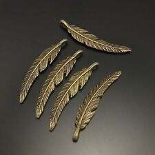 02065 Vintage Bronze Alloy Bird Feather Pendants Charms Crafts Findings 6pcs