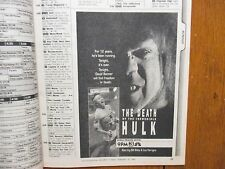 1990 Philadelphia Inquirer TV Week(DEATH OF THE INCREDIBLE HULK/WILLIAM PETERSON