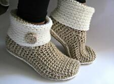 Hand Crocheted Slipper Boots with Eco Leather Soles, Women Slippers , Free Shipp