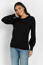 Wallis Womens Black Puff Sleeve Jumper Sweater Pullover Knitwear Blouse Top