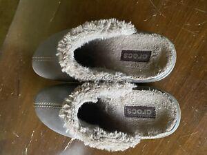 Crocs Womens Faux Fur Mule Clogs Size 7 Brown Learher