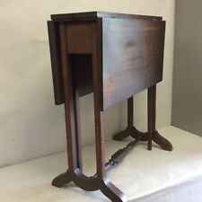"""Antique Mahogany Banded, Inlaid Drop Leaf Table, Small 24"""" Tall"""
