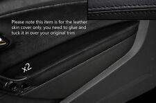 BLACK Stitch 2x Porta BRACCIOLO PELLE COPERTURA Adatta per VW Polo MK8 09-15 3 PORTE