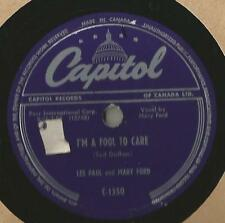 78 Rpm Record Les Paul And Mary Ford I'm A Fool To Care / Auctioneer
