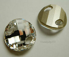 1x SWAROVSKI 3221 CLEAR CRYSTAL 18mm TWIST SEW-ON CRYSTAL FOILED BEAD