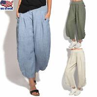 Women's Cotton Linen Loose Harem Baggy Pants Summer Long Trousers Plus Size USA
