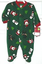 GREEN FOOTED CHRISTMAS/HOLIDAY SLEEPER by Carters (100% polyester)  sz 3m