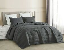 3pc Quilted Coverlet Set Charcoal Gray Stonish Bedspread Stone-Washed, Bed Cover
