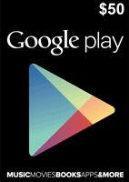 Google Play Card 50 Dollar - $50 USD Google PLAY Store Gift CARD - Android Key