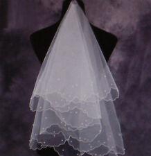 Brautschleier Einlagig mit Saum und Perlen  Brautschmuck Weiß Hochzeit
