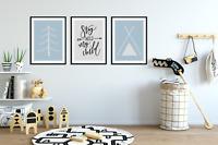 Set of 3 Boys Bedroom Prints, Stay Wild My Child, Scandinavian Nursery Prints