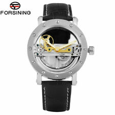 Men's Watch Skeleton Mechanical Watch Transparent Dial Leather Strap Watch