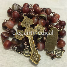 Red Carnelian beads Vintage Catholic St. Benedict Rosary Pardon Cross Necklace