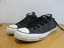 Converse All Stars black glittery trainers sneakers UK 4 VGC low tops