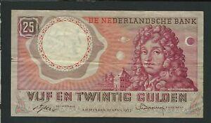 NETHERLANDS  25 GULDEN   1955  VF+++
