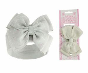 Baby Girls White Headband Sparkle Glitter Bow Stylish Hairband Bow