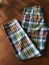 Hackett London 100% Madras Cotton Checked Trousers Size 32