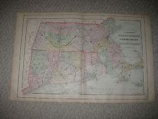 Large Antique 1887 Massachusetts Connecticut Rhode Island Mitchell Handclr Map N