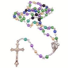 Multi-colour pearlescent rosary beads purple green blue cream black 50cm length