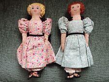 Vtg Original Edith Flack Ackley Handmade Pretty Cloth Doll Pair. Have Spots