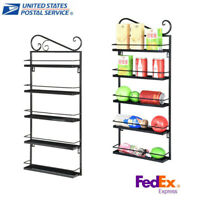 5-Tier Wall Mounted Metal Spice Rack Organizer For Cabinet Pantry Door Kitchen