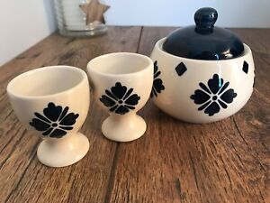 Moroccan Blue and White Sugar Bowl Matching Egg Cups Hand painted Kitchen Pots
