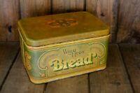 "Vintage Tin ""Wheat Heart"" Metal Bread Box"