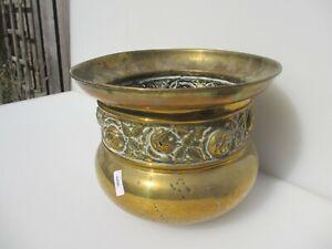Vintage Brass Trough Tub Planter Plant Pot Antique Old Urn Floral Flowers Leaf