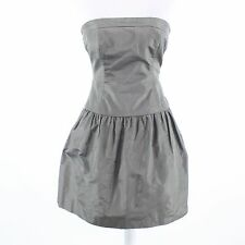 Gray 100% silk J. CREW strapless A-line dress 0P