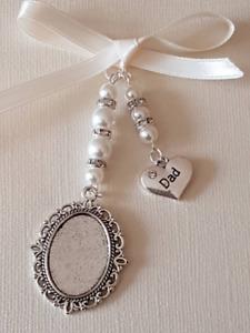 "A Bridal Bouquet Charm Oval Silver Locket  ""dad"" charm, ivory pearls, gift bag"