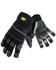 Caterpillar Mens Adjustable Reinforced Work Gloves Black