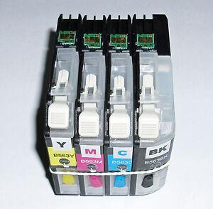 Short Refillable LC563 BCMY cartridges MFC- J2310  J2510  J3520 J3720