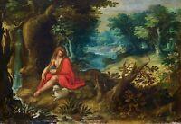 SAINT JOHN IN THE DESERT. OIL ON CANVAS. ITALO-FLEMISH SCHOOL. NETHERLANDS. XVII