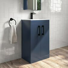 500mm Blue Freestanding Vanity Unit with Basin and Black Handle - Ashford