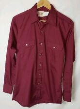 Saddle King Western Mens Size M Maroon Vintage Pearl Snap Long Sleeve Shirt