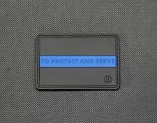 Protect And Serve Thin Blue Line 3D PVC Morale Patch Police LEO SWAT Hook