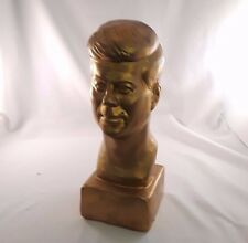 President John F. Kennedy JFK Plaster Bust PAINTED GOLD Vintage Desk Top HEAD