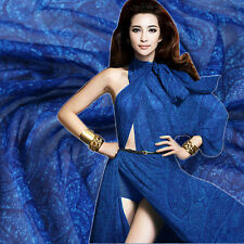 Blau Seidenchiffon stoff mit Paisley Muster Meterware 100% Seidenstoffe Nähen