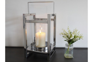 Stainless Steel Pillar Candle Lantern With Handle Indoors Wedding Centrepiece