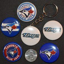 "Set of 5 1 1/2"" Pinback Buttons Toronto BLUE JAYS plus Key Chain Retro Keychain"